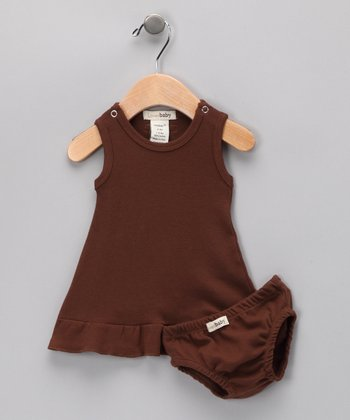 Out-on-the-Town Brown Mod Dress & Diaper Cover - Infant