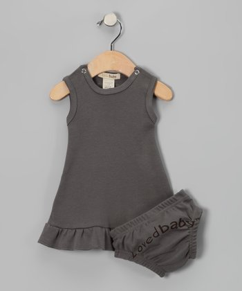 Clay Gray Mod Dress & Diaper Cover - Infant