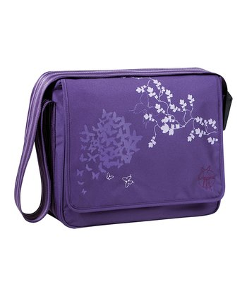 Butterfly Purple Casual Messenger Diaper Bag