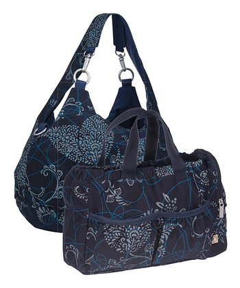Navy Gold Label Reversible Shoulder Diaper Bag