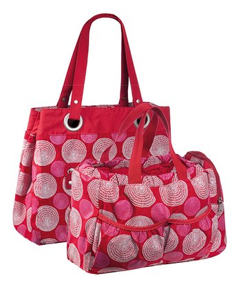 Red Gold Label Reversible Tote Diaper Bag