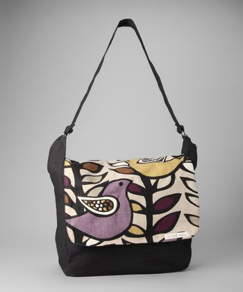 La Bella Couture Purple Bird Messenger Bag