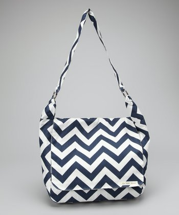 La Bella Couture Navy Chevron Messenger Bag