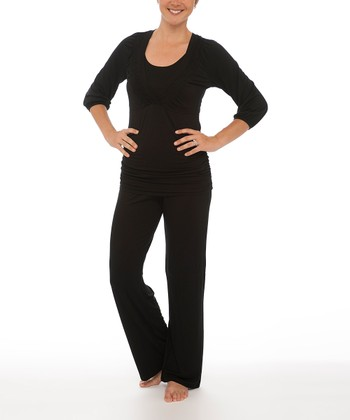 Black Nursing Sleep Top & Pants