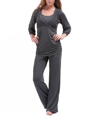 Charcoal Nursing Sleep Top & Pants