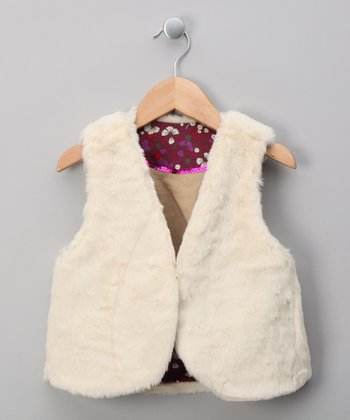 Beige Reversible Shepherd Vest - Girls