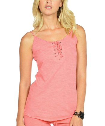 Coral Lace-Up Camisole