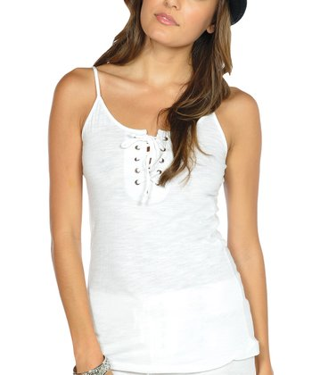 White Lace-Up Camisole