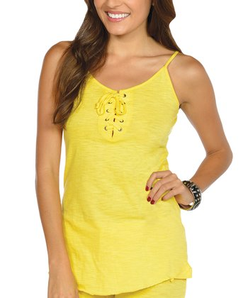 Yellow Lace-Up Camisole