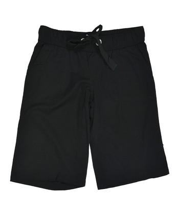 Lagaci Black Drawstring Bermuda Shorts