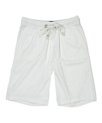 White Drawstring Bermuda Shorts