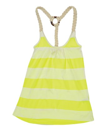 Neon Yellow Stripe Racerback Tank