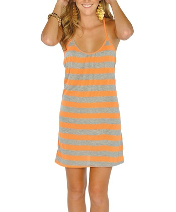 Neon Orange Stripe Lace-Back Dress
