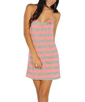 Neon Pink Stripe Lace-Back Dress