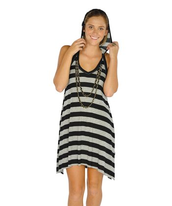 Black Stripe Hooded Racerback Dress