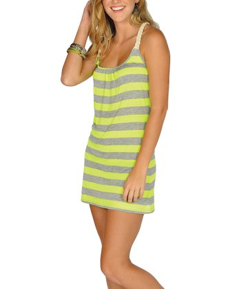 Neon Yellow Stripe Racerback Dress