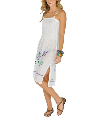 White Embroidered Shirred Dress