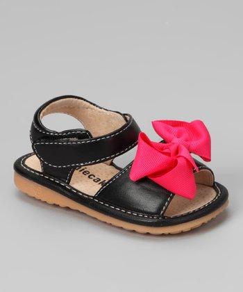 Laniecakes Laniecakes Black Bow Squeaker Sandal