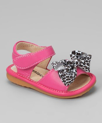 Laniecakes Hot Pink Leopard Bow Squeaker Sandal
