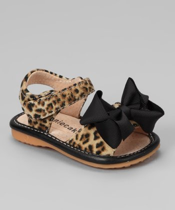 Brown Leopard Bow Squeaker Sandal