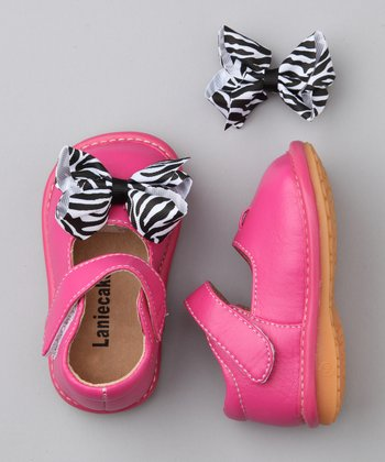 Hot Pink & Zebra Bow Squeaker Mary Jane
