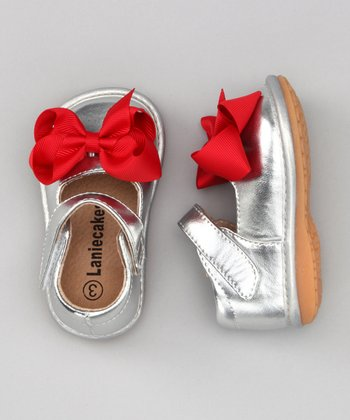 Silver & Red Bow Squeaker Mary Jane