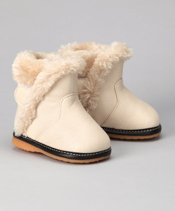 Cream Faux Fur Squeaker Boot