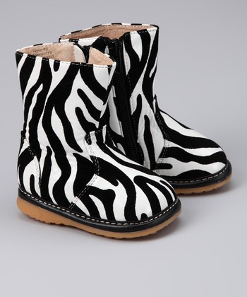 Black & White Zebra Squeaker Boot