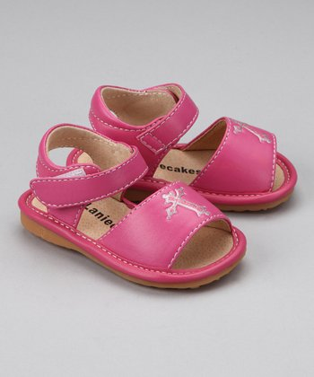 Hot Pink Cross Squeaker Sandal