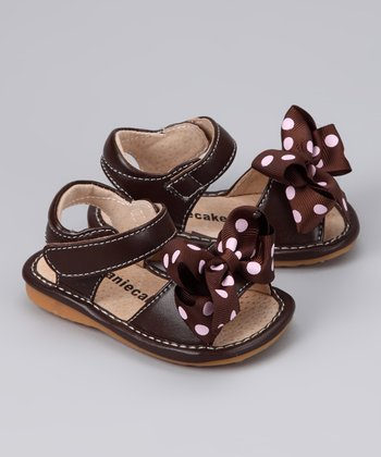 Dark Brown Add-a-Bow Squeaker Sandal