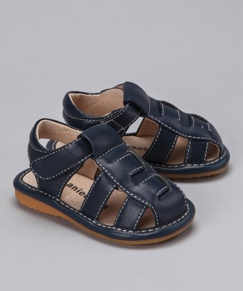 Navy Squeaker Closed-Toe Sandal