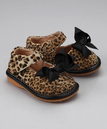 Leopard & Black Bow Squeaker Mary Jane