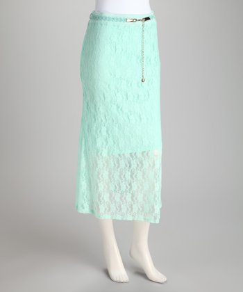 Light Blue Lace Belted Skirt
