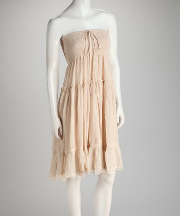 Light Pink Shirred Ruffle Convertible Dress