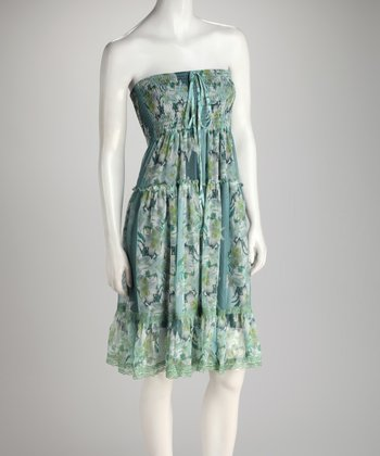 Blue & Green Floral Shirred Ruffle Convertible Dress