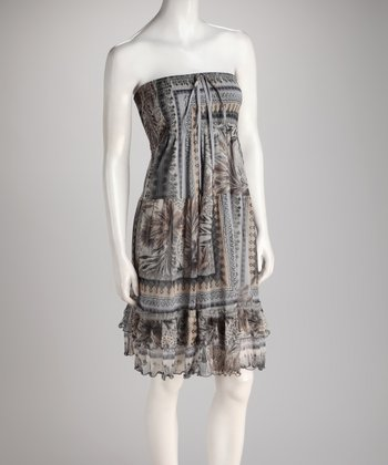 Gray Patchwork Shirred Ruffle Convertible Dress