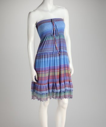 Rainbow Stripe Shirred Ruffle Convertible Dress