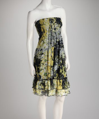Black & Yellow Floral Shirred Ruffle Convertible Dress