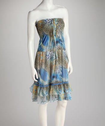 Blue & Brown Abstract Shirred Ruffle Convertible Dress