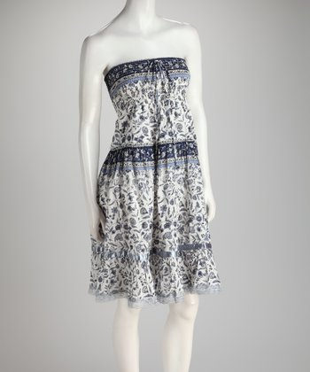 Blue Floral Shirred Ruffle Convertible Dress