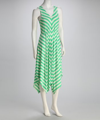 Green & White Chevron Handkerchief Dress