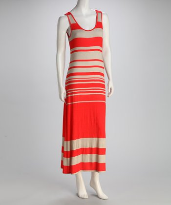 Red & Gray Gradient Stripe Maxi Dress
