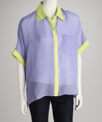 Larsen Grey Purple & Yellow Camp Button-Up