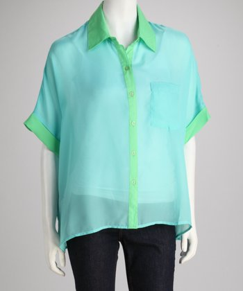 Larsen Grey Turquoise & Green Camp Button-Up