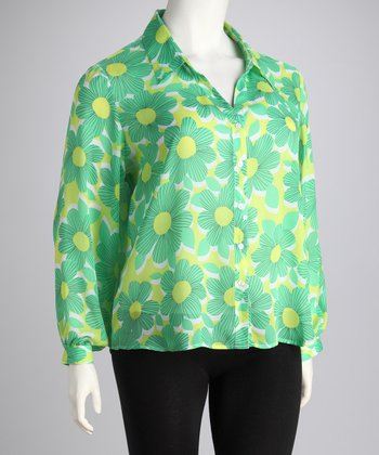 Green Sheer Floral Plus-Size Button-Up