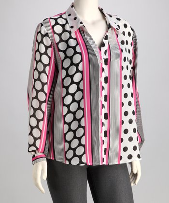 Pink & Black Polka Dot Stripe Plus-Size Button-Up