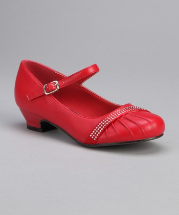 Red Ruched Rhinestone Mary Jane