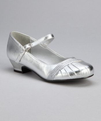 Silver Ruched Rhinestone Mary Jane