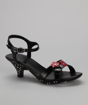 Black Flower Cluster Sandal