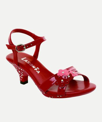 Red Flower Cluster Sandal